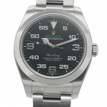 Rolex Air-King Stainless Steel 40mm Black Dial Blue Luminescen...