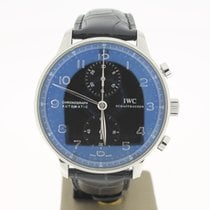 IWC Portugaise Chronograph Steel 41mm (B&P2014) Black Dial