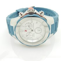 Michele Tahitian Jelly Bean Womens Blue/ Silver Tone Silicone...