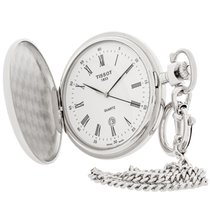 Tissot Savonnettes White Dial Swiss Quartz Pocket Watch...