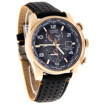 Citizen Eco-Drive Mens World Time Chronograph Leather Watch...