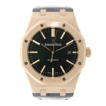 Audemars Piguet AP Royal Oak 41 Rose Gold Black Leather Strap
