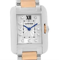 Cartier Tank Anglaise Small Steel 18k Rose Gold Diamond Watch...