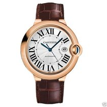 Cartier Ballon Bleu 42mm w6900651 18kt Rose Gold Leather Strap...