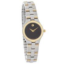 Movado Juro Ladies Two Tone Black Dial Swiss Quartz Watch ...