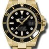 Rolex SUBMARINER YELLOW GOLD BLACK DIAMOND DIAL OYSTER BRACELET
