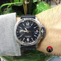 Panerai Luminor GMT PAM 244 Steel 40mm Rubber/Leather Strap