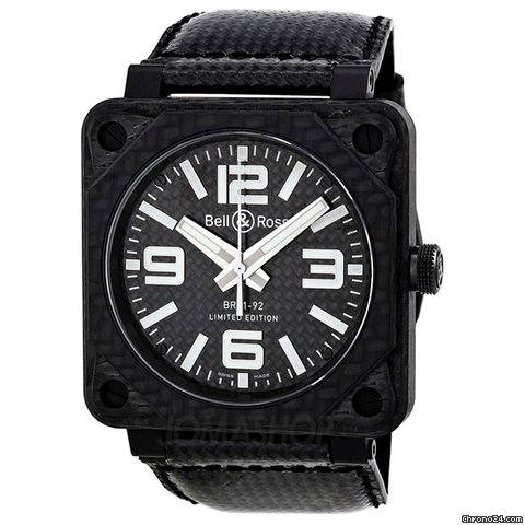 Bell &amp;amp; Ross Aviation Carbon Fiber Black Dial 46 MM Automatic Mens Watch BR-01-92-CARBON-FIBER