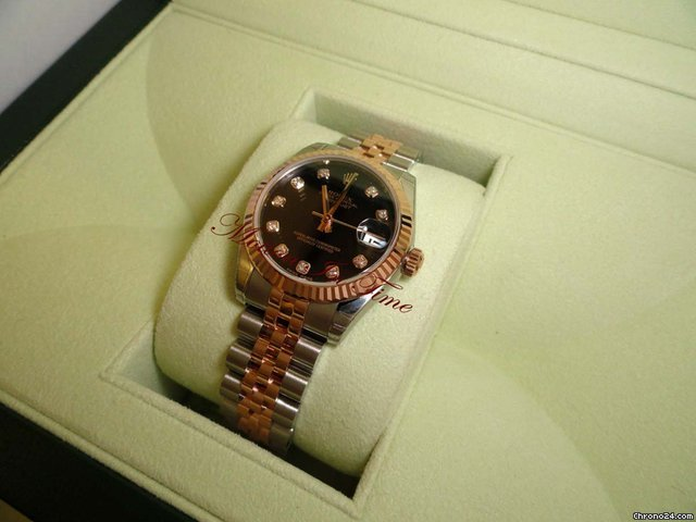 Rolex DATEJUST 31mm MEDIUM SIZE ROSE GOLD & STEEL BLACK DIAMOND