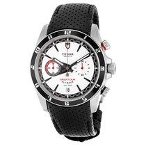 Tudor Grantour White Dial Black Leather Mens Watch 20550N-WMCPL