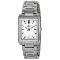 Bulova Diamond White Dial Stainless Steel Mens Watch 96E113