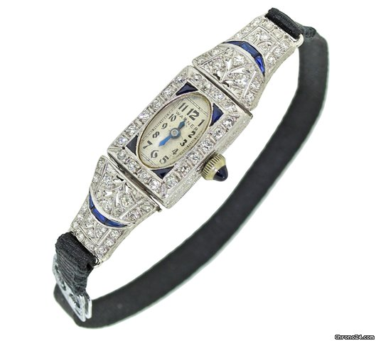 Vintage Antique Deco Warner Platinum 1.50ctw Diamond Sapphire Cord Manual Watch