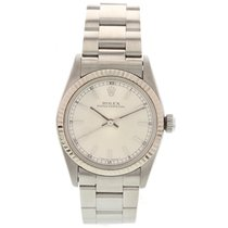 Rolex Midsize Rolex Oyster Perpetual Stainless Steel 18K White...