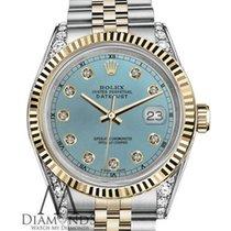 Rolex 26mm Datejust 2tone Ice Blue Diamond Numbers Lugs...