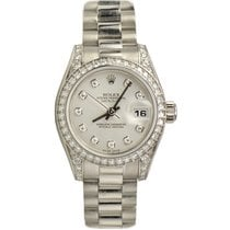 Rolex DateJust Lady Gold President White Gold Factory Set...