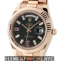 Rolex Day-Date II President 18k Rose Gold Baguette Diamond...
