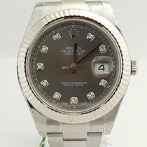 Rolex DateJust II 41mm Rhodium Diamond Dial and White Gold Bezel