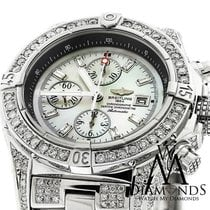Breitling Super Avenger Mother Of Pearl A13370 Over 13ct...