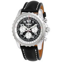 Breitling Chronospace Automatic Black Dial Black Leather