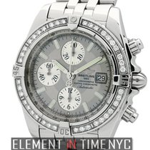 Breitling Chronomat Evolution Factory Diamond Bezel Grey Dial...