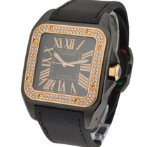 Cartier Santos 100 in Black PVD Steel with Rose Gold Diamond...