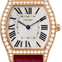 Cartier Tortue Silver Dial 18kt Rose Gold Diamond Unisex ...