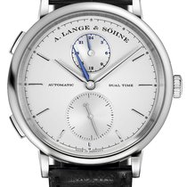 A. Lange & Söhne A  Saxonia Dual Time Black Leather...