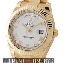 Rolex Day-Date II President 18k Yellow Gold 41mm White Roman...
