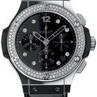 Hublot Big Bang Steel Shiny Steel Diamonds Leather Men`s Watch