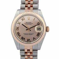 Rolex Datejust 31 Pink Dial Roman Fluted Bezel Jubilee Links...