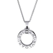 Bulgari Necklace Pendant Diamond and Chain 18K White Gold...