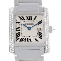 Cartier Tank Francaise Midsize 18k White Gold Diamond Watch...