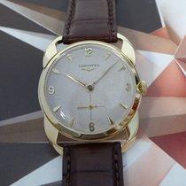 Longines Solid 14K Gold HoneyComb Dial Fancy Case Wristwatch