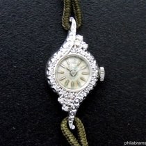 Bulova Ladies Vintage 14k White Gold Diamond Bezel Decorative...