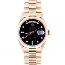 Rolex Mens 18K Gold President- Black 8+2 Diamond Dial - 18038