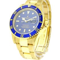 Rolex Used Submariner 16808 in Yellow Gold with Blue Bezel