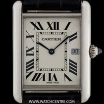 Cartier 18k White Gold Silver Roman Dial Tank Gents Wristwatch