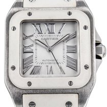Cartier Santos 100 W20122u2 Stainless Steel White Rubber...