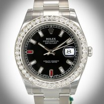 Rolex 116300 DateJust 41mm 3.5ct Diamond Bezel Men's Watch w