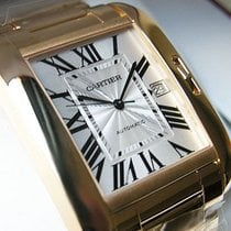 Cartier Large 18k Yellow Gold Tank Anglaise Silver Roman 47mm...