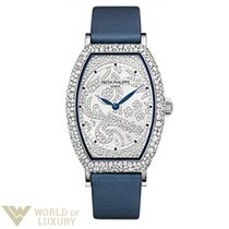Patek Philippe Gongolo White Gold Diamond Paved Ladies Watch