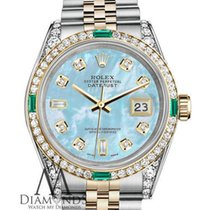 Rolex 18k Gold Medium Size 31mm Datejust Baby Blue Pearl Real...
