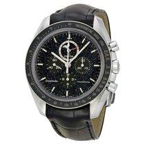 Omega Speedmaster Chronograph Black Dial Black Leather Mens...