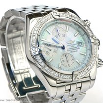 Breitling A13356 MOP Dial Factory Diamond Bezel Chronomat...
