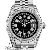 Rolex Datejust 36mm Stainless Steel Glossy Black String...