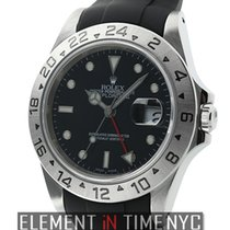 Rolex Explorer II Stainless Steel 40mm Black Dial On Rubber B...
