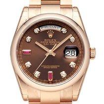 Rolex Day-Date 36 18 kt Everose-Gold 118205 Schoko DIA