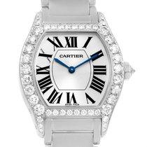 Cartier Tortue 18k White Gold Diamond Ladies Watch Wa5072w9