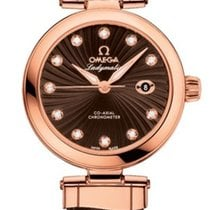 Omega 42563342063001 De Ville Ladymatic Gold Brown Diamonds