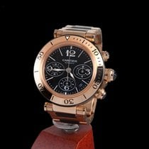Cartier pasha sea-timer chronograph rose gold and rubber...